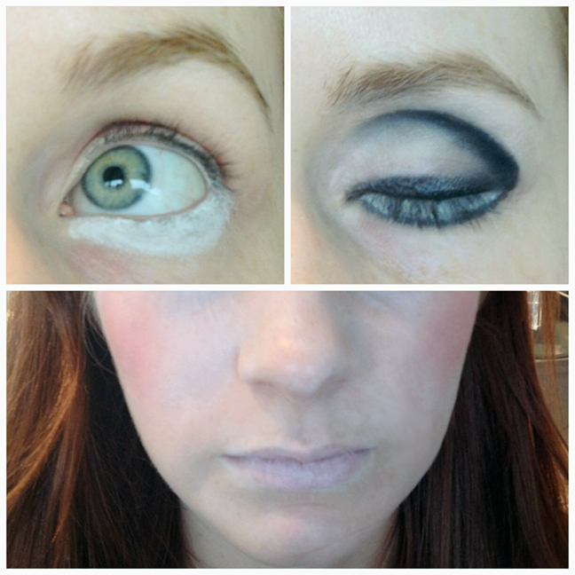 Step 2: Using a black eyeliner, line the edge of the white, creating a false lower lash line. Use a q-tip with makeup remover to help you perfect the line, ...