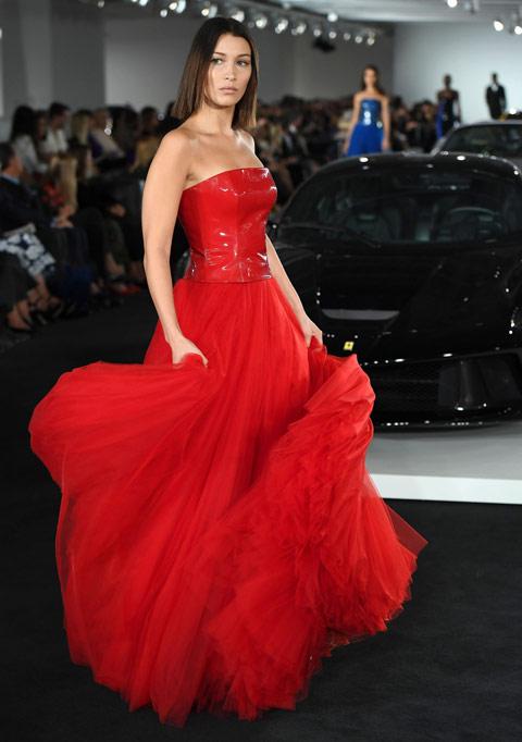 Bella Hadid walks for Ralph Lauren in his garage in Bedford, New York. Source: Observer