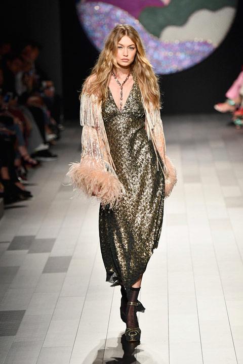 Gigi Hadid walks for Anna Sui. Source: